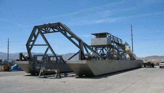 Shop Manufactured 30' W X 120' L Mining Dredge. It Is A Well Designed Unit Based On An Ellicott Dredge Design