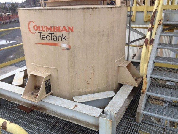 "Columbian Tec Tank 6'3/4"" Dia X 7'4-1/2"" H Dryer Feed Hopper Tank, 25-ton With 5-ton Rotary Table Feeder"