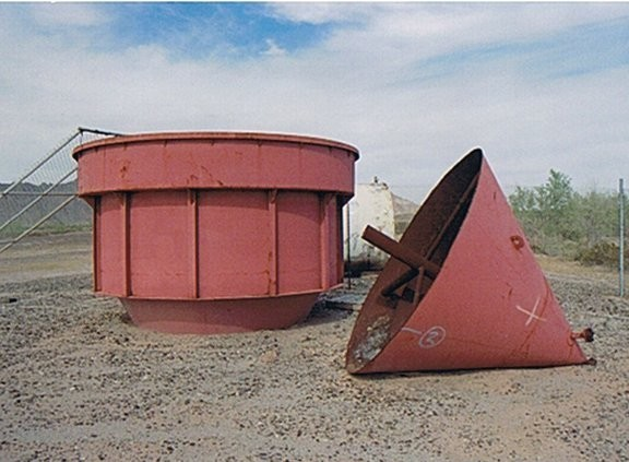 "Steel Tank 12'10"" Dia. X 17-1/2' High With 12"" Launder, Cone Bottom"