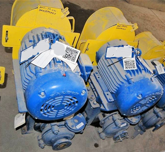 "2 Units - UNUSED 1.5"" X 1"" WARMAN B-AH Pumps, Model 021BAHCCCMM1305 Centrifugal Pump with 20 HP motor"