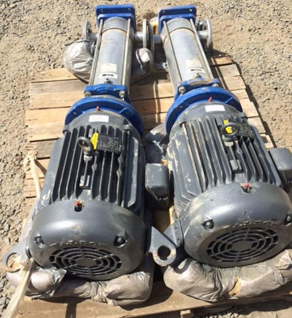 2 Units - GOULDS G&L Series SSV Vertical Multi-Stage Pumps with 20 HP motor