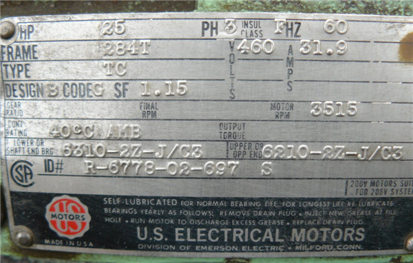 Us Electric 25 Hp Motor, 3515 Rpm