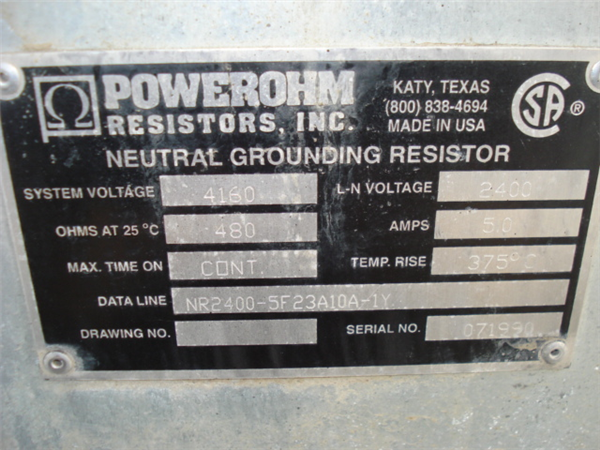 Powerohm Neutral Grounding Resistor