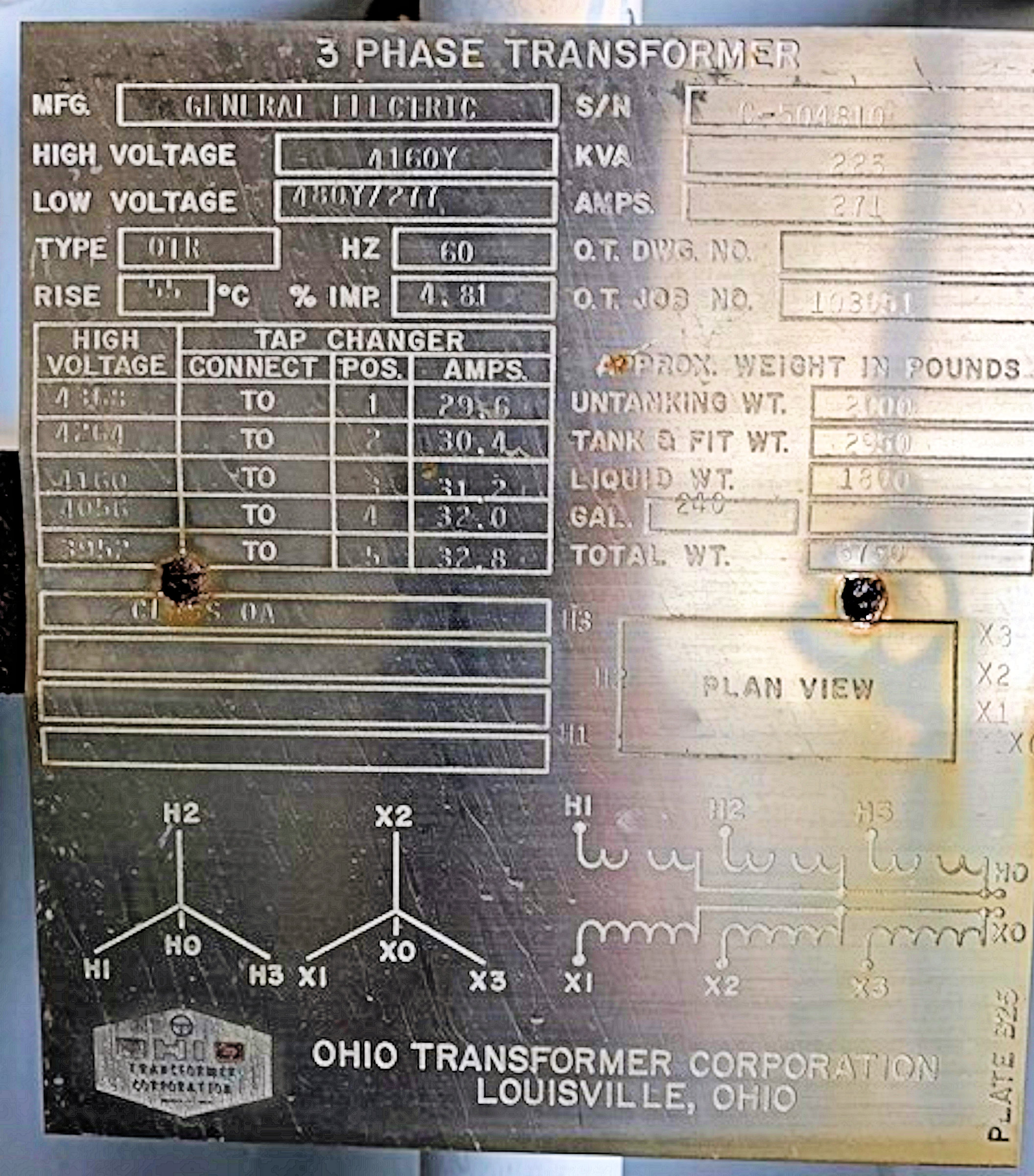GENERAL ELECTRIC 225 KVA 3-Phase Transformer, 4160 Y down to 480 Y/277