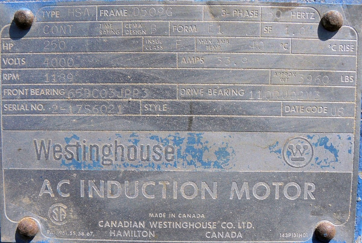 Westinghouse 250 Hp Ac Induction Motor, 1189 Rpm