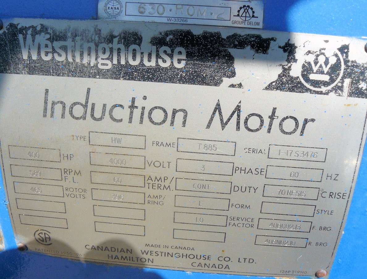 Westinghouse 400 Hp Induction Motor, 589 Rpm