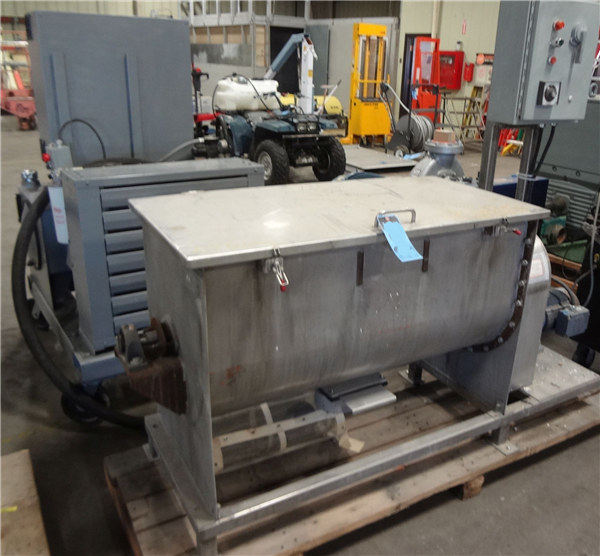"""20 Cu. Ft. Stainless Steel Double Ribbon Mixer, 24"""" X 46"""", With 5 Hp Gearhead Drive"""