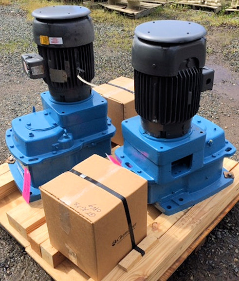 "2 Units- UNUSED CHEMINEER Model 3GTD-10 Turbine Agitator Drive with 10HP Motor, 102"" L. Shaft with 3 Paddles"