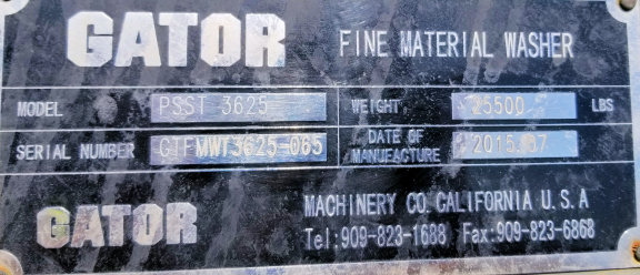 Gator Model Psst 3625 Fine Material Washer With 15 Hp Motor