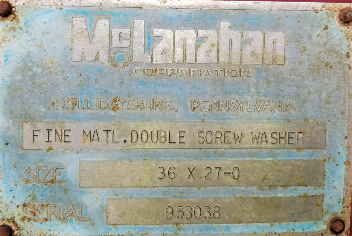 Mc Lanahan 36 X 27 Fine Material Double Screw Washer