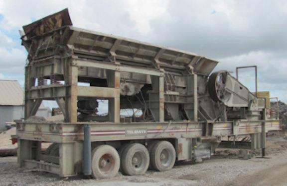 "Telsmith Model 3055 Portable Jaw Crusher, 200 Hp With 54"" X 20"" Grizzly Feeder"