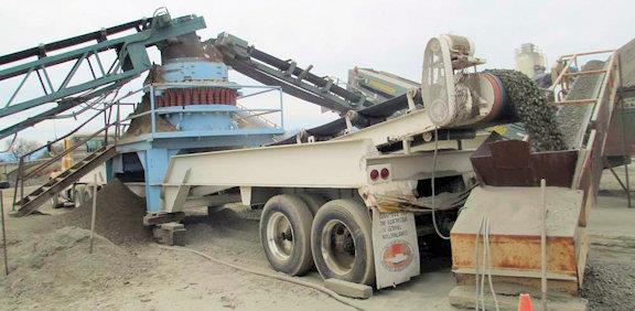 Symons Model 5100 (4-1/4') Sh Portable Cone Crusher On Chassis With Discharge Conveyor And 28' Van With Cat D333 Diesel Generator.
