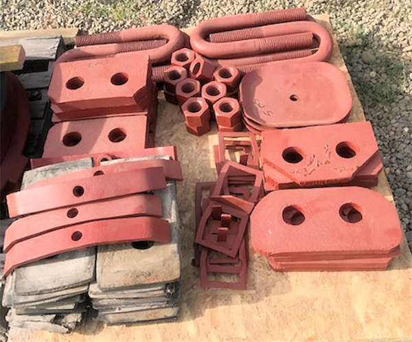 LOT of U-Bolts, Hex Nuts, Washers and Cover Plates for 7'  Cone Crusher