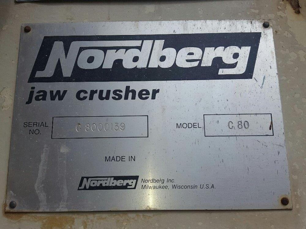 "Nordberg Model C 80 (32"" X 20"") Jaw Crusher With Grizzly Feeder & Under Conveyor. Currently Installed On Modular Structure."