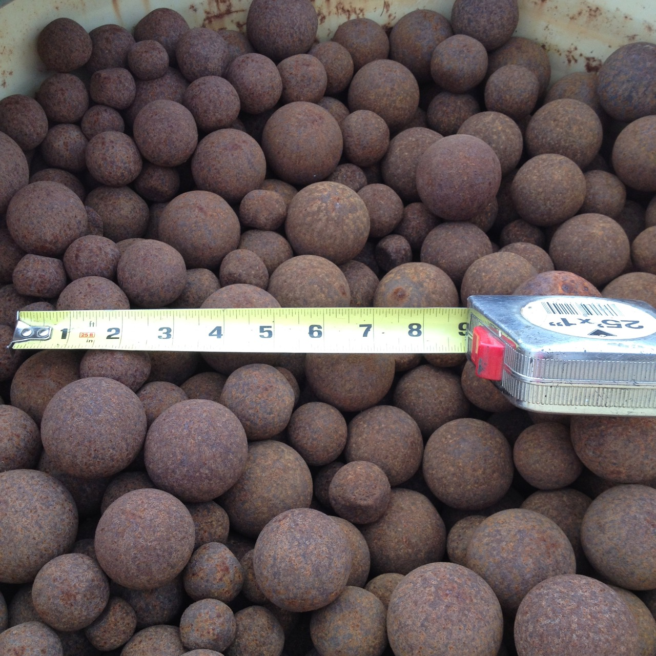 "75 Units/barrels - Used Grinding Balls, Ranging In Size From Approximately 1"" To 4"" (note: A Barrel Is Approximately 1-ton)"