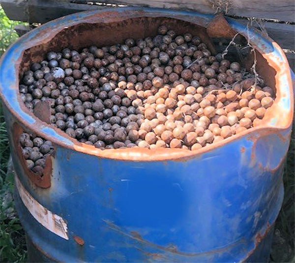 "19 Units - Barrels Of Used Steel Grinding Balls, Approximately 3/4"" - 1"" Mixed Barrels"