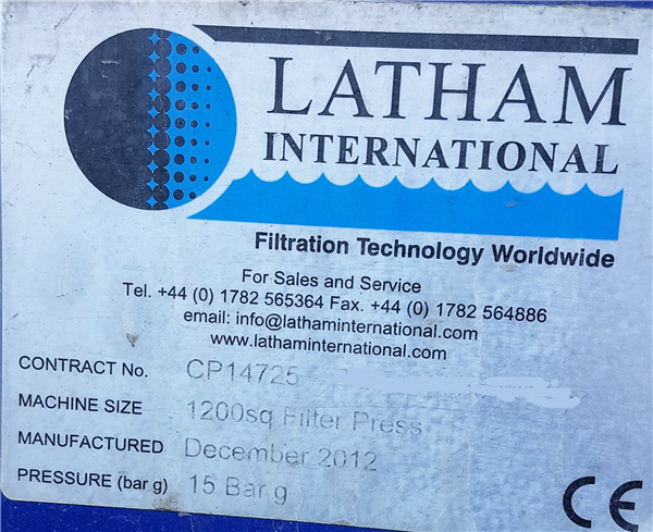 Latham Fully Mechanised 1200mm² Sidebar Filter Press