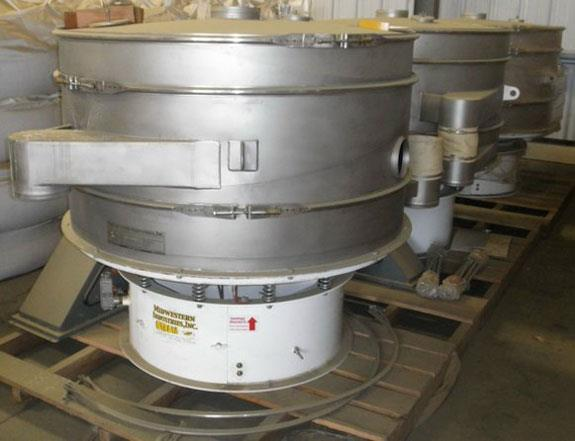 "3 Units- MIDWESTERN INDUSTRIES Gyra-Vib 60"" Round SS Vibratory Separator Screens, Model 60S8-15.6, 2-Deck"